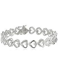 """Sterling Silver Diamond Heart Bracelet (1/20 cttw), 7.25"""""""
