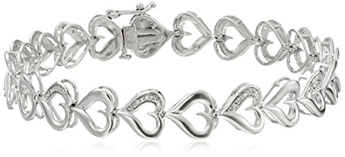 Diamond Cut Heart Link Bracelet - Sterling Silver Diamond Accent Heart Bracelet, 7.25 Inch
