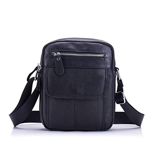 VAXT Calculate Men's Shoulder Bags Leather Crossbody Bags Business Casuals Upright Student Mini Bags (Color : Black, Size : M)