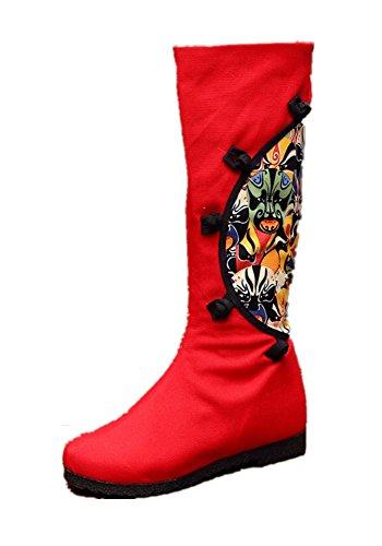 Tianrui Crown Women Women Women And Ladies The Fall Fashion Chinese Frog Style Knee Boots Shoe B074W8WVRK Shoes 6b7b85