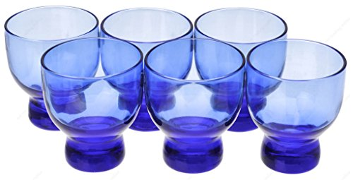 Japanese Cold Glass Blue Sake Cup 2-Ounces Cups, Set of 6