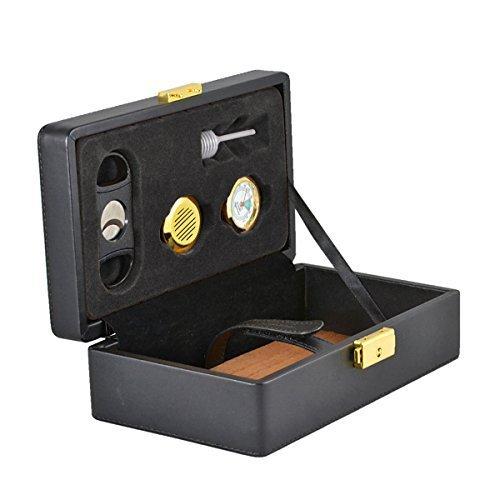 Genuine Leather Cigar Humidor Travel Humidor Includes Humidifier, Hygrometer, Syphones Cutter, Brass Key and Lock By Usgifts (Black) by US Gifts