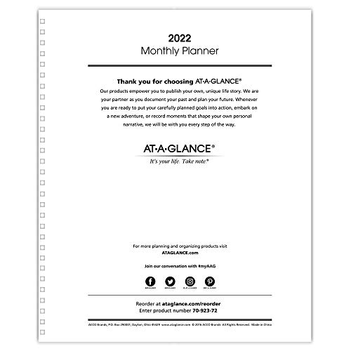 AT-A-GLANCE 2022 Monthly Planner Refill, for Planners 70-236 or 70-296, 9