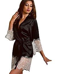 Women's Sexy Silk Kimono Dressing Babydoll Lace Lingerie Bath Robe Nightwear