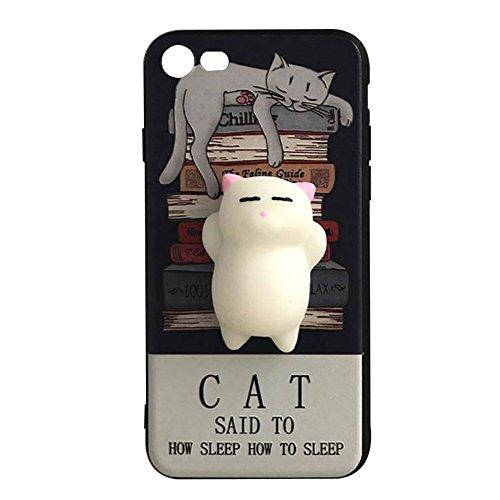 Pinzhi Pinzhi 3D Agradable Silicona Suave Pappy Squishy Cat Para el Caso de la Cubierta Del iPhone 7 Caja Blanca del Teléfono del Gato Estilo
