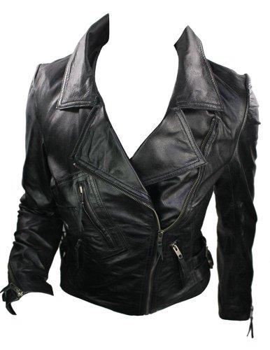 De Cuir Véritable Style Bikers 100 Couleur Vintage En Noir Femme Rock Courte Veste OvwfxWqv14