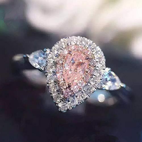 Tomikko 3ct Pink/White Water Drop CZ Wedding Ring 925 Silver Womens Engagement Size 4-9   Model RNG - 24527   6