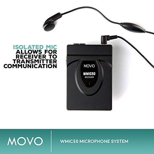 Movo WMIC50 2.4GHz Wireless Lavalier Microphone System with Integrated 164-foot Range Antenna (Includes Transmitter with Belt Clip, Receiver with Camera Shoe, Lavalier and 2 Earphones) by Movo (Image #4)