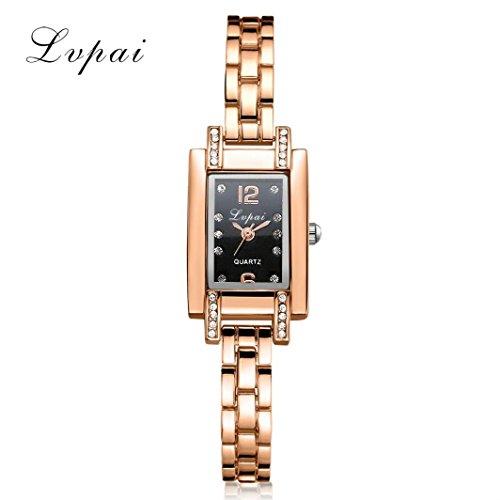 Hunputa Luxury Diamonds Square Women Stainless Steel Band Rhinestone Quartz Wrist Watch Gift (B)