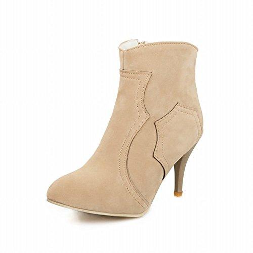 Carol Shoes Women's Charm Fashion High Heel Zip Concise Commuting Short Boots apricot wsUX82