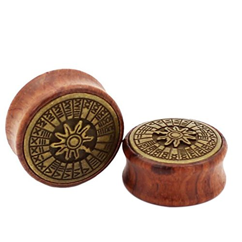 Double Flare Wood Plugs with Metal Logo Front Body Piercing Jewelry (14mm 9/16'')