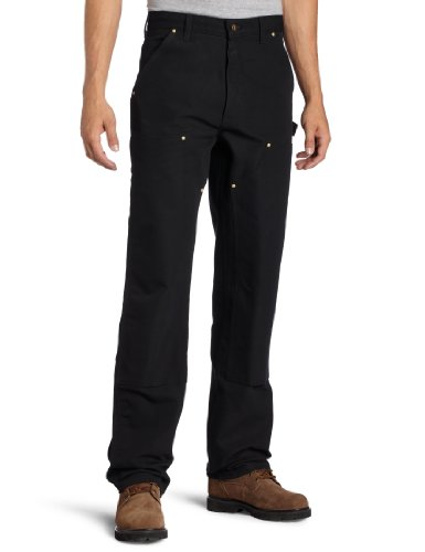 (Carhartt Men's Firm Duck Double-Front Work Dungaree Pant - 32W x 32L - Black)
