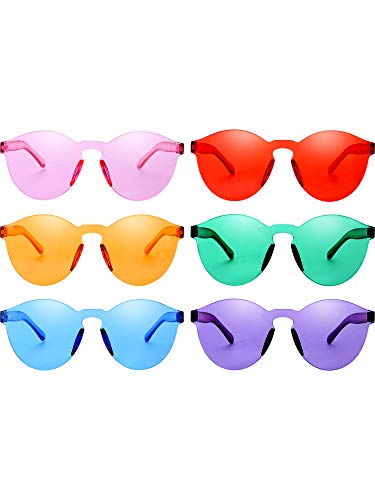 - Blulu Round Rimless Sunglasses Tinted Eyewear Transparent Candy Color Sunglasses (6 Pieces, Color Set 7)