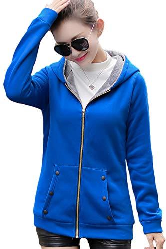 Sopliagon La Taille De Plus À Doublé Capuche Bleu Polaire Pardessus Pleine Fermeture Femmes Glissière Survêtement rqZw7r