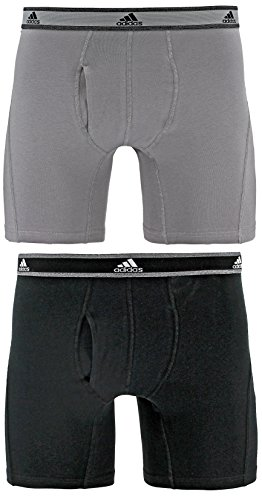 adidas Men's Relaxed Performance Stretch Cotton Boxer Briefs Underwear (2-Pack), Light Onyx/Black, Large 2 Pack Cotton Boxer