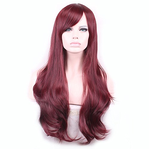 Halowing Wigs Long Wavy Curly Cosplay Wig Heat Resistant Synthetic Hair with Wig Cap( Red ) by Halowing