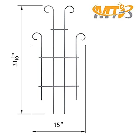 ,Plant Support Pack of 2 MTB Black Coated Wave Pot Trellis Panel 31 Plant Stakes for Climbing Plants