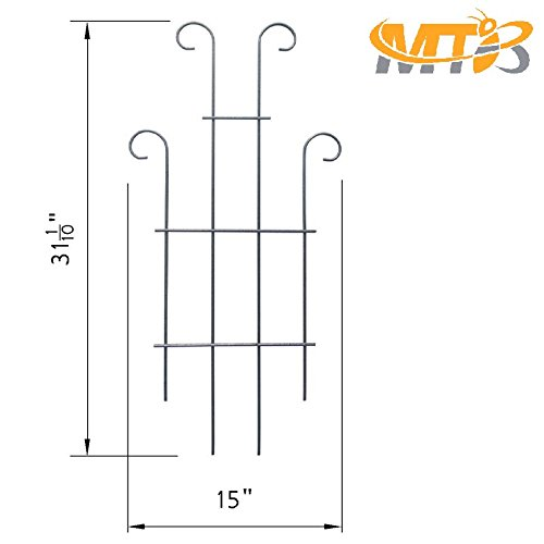 MTB Black Coated Wave Pot Trellis Panel 31'' Plant Stakes for Climbing Plants (Pack of 2)
