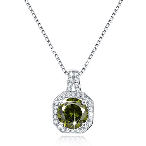 Solitaire Cubic Zirconia CZ Necklace August Simulated Birthstone Peridot Halo Pendant Necklace Jewelry