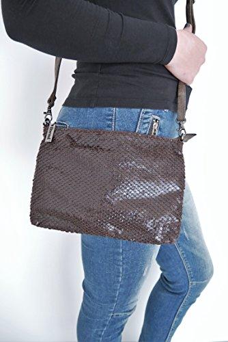 t*fd 8029 - schwarz - Cartera de mano para mujer gris grau-khaki pequeño, marrón (marrón) - 8338 marrón