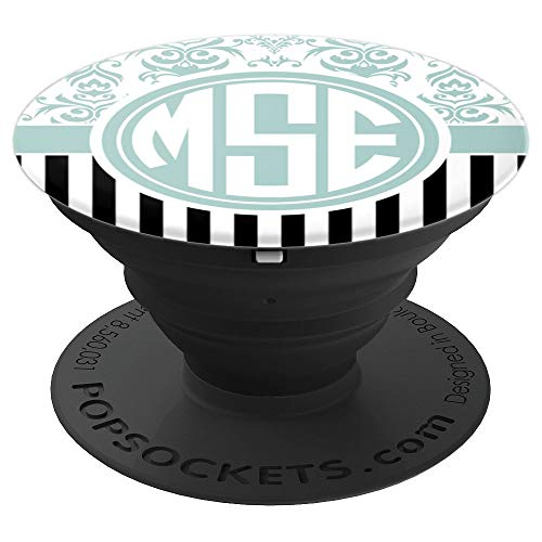 (MSE Monogram Phone Grip Blue Damask Initials MSE or MES - PopSockets Grip and Stand for Phones and)
