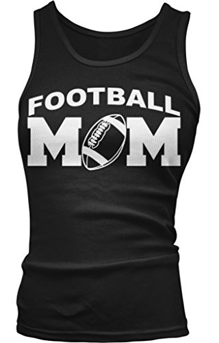 Amdesco Football Mom Juniors Tank Top, Black Large
