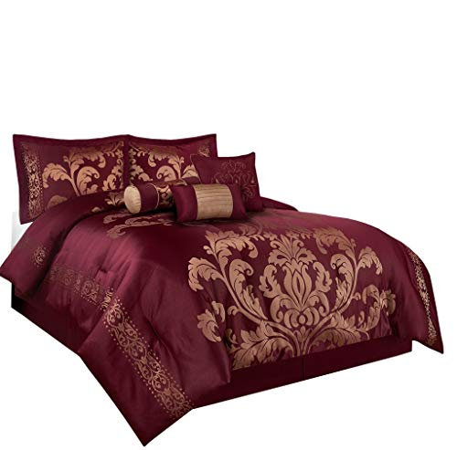 (Chezmoi Collection 7-Piece Jacquard Floral Comforter Set (Queen, Maroon))