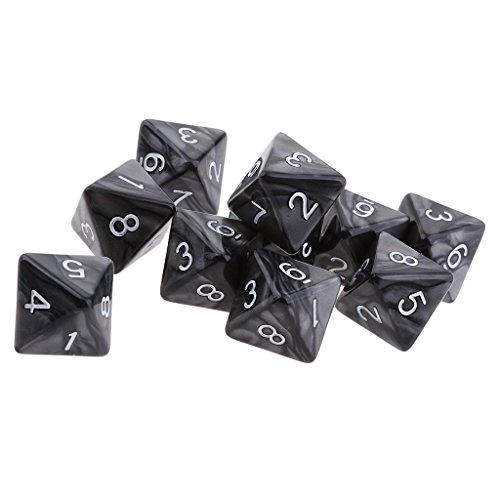 Jili Online 10pcs 8 Sided Dice D8 Polyhedral Dice for Dungeons and Dragons Roley playing Games Dice Gift Black