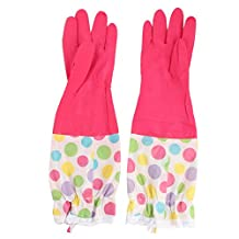 uxcell® Latex Dots Pattern Household Elbow Long Dishwashing Working Cleaning Gloves 45 x 15cm Pair