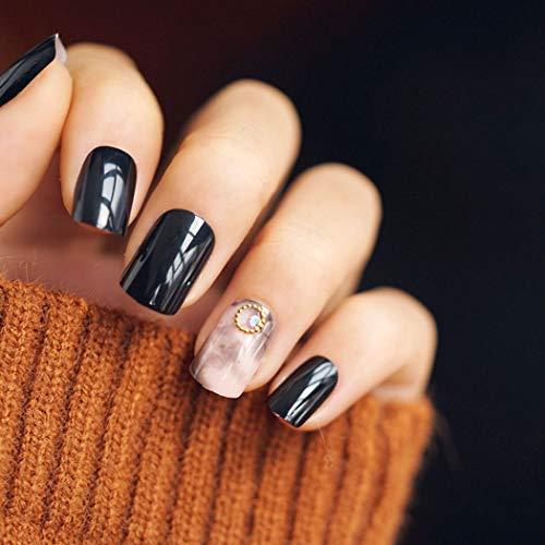 Evazen 24Pcs False Nails Grey Marble False Nails Bling Glitter Fake nails Black Glossy Nails Full Cover Salon Nails Art Tips for Women -