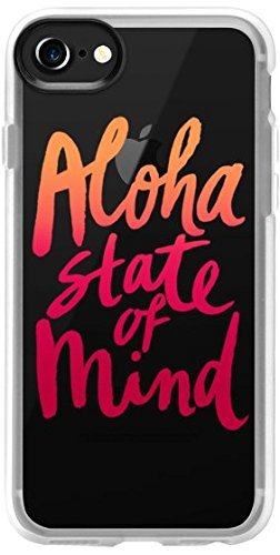 Casetify, Classic Quote Grip Case | (Aloha State of Mind Pattern) | iPhone 7 Case (4.7 inch) | Protective Flexible Slim Fit Snap Cover with Clear Shockproof Bumper | Retail Packaging - Red, Orange (Christmas Time Reflect Quotes)