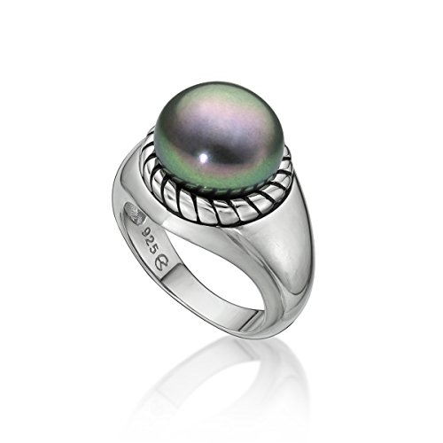 Pearl Freshwater Black 11mm Cultured (Sterling Silver Freshwater Black Cultured Pearl Ring, 10.5-11mm)