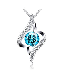 """Sterling Silver Pendant Necklace J.Rosée""""The Eye of Lover"""" Blue Necklace Exquisite Gift Package (45cm+5)"""