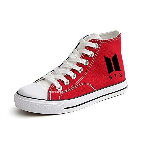 Casuales De Tacón Red02 Unisex Lona Zapatos Bts Alto Negros qxRUwna