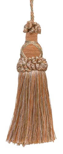 Decorative 5.5 Inch Key Tassel, Lt Peach, Olive Green, Ivory Imperial II Collection Style# KTIC Color: PRAIRIE PEACH - 3853 ()