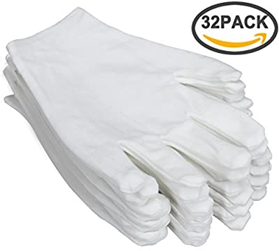 "FASOTY 16 Pairs White Cotton Gloves 8.6"" Large Size for Coin Jewelry Silver Inspection Work Gloves"