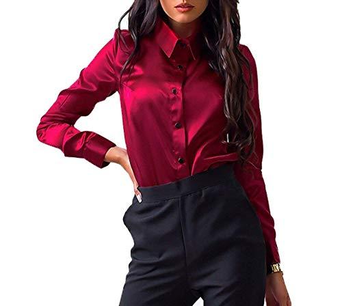 Unita Risvolto Con Maniche Size Donna Winered A Estive Tinta Camicie In Yhujh Lunghe M Stile Slim color Bottoni Moda Camicetta Winered Top pAIaWwq