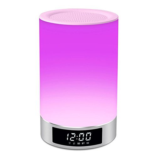 Bedside Lamp,ELEGIANT All-in-1 Wireless Speaker Portable Led Night Light, Table Bedside Lamp with Color Changing Touch Dimmable Support TF Card Speakerphone Hand-free Alarm Clock