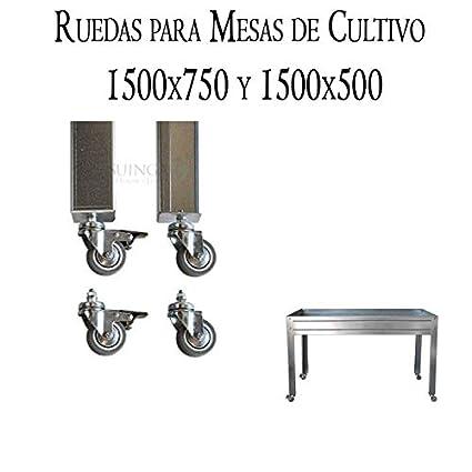 KIT 4 RUEDAS para MESAS DE CULTIVO 1500X750 y 1500X500. Kit compuesto por 2 ruedas con freno ...