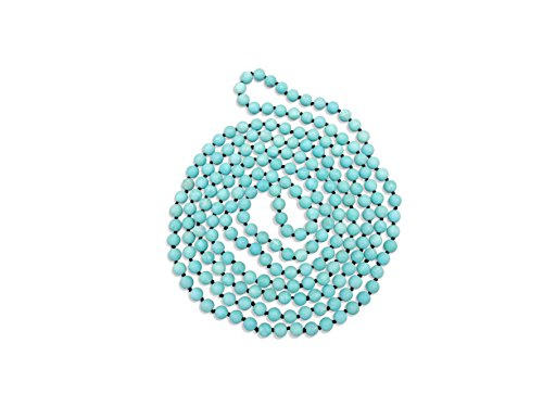 MGR 80 Inch Long 8MM Matte Blue Magnesite Turquoise Multi-layer Long Endless Infinity Beaded Necklace.