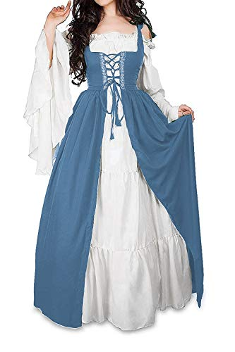 Abaowedding Womens's Medieval Renaissance Costume Cosplay Chemise and Over Dress (L/XL, French Blue) ()