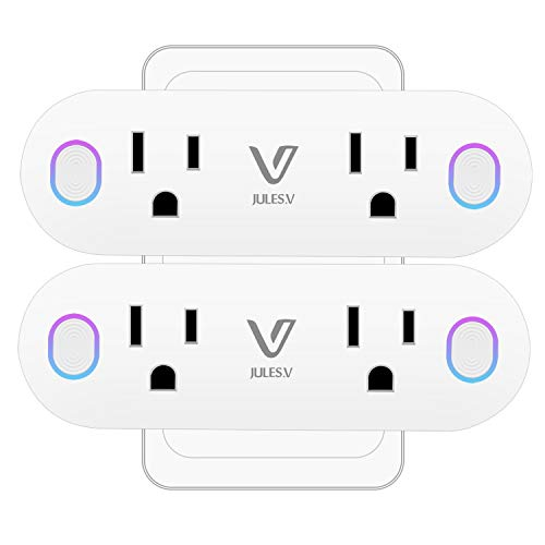 Wifi Smart Plug Dual Outlet – V JULES.V 2 in 1 WiFi Smart Socket with Voice and App Controlled, Work with Alexa IFTTT Google Assistant, 16A for Large Appliances, Remote Control from Anywhere (2 Pack)