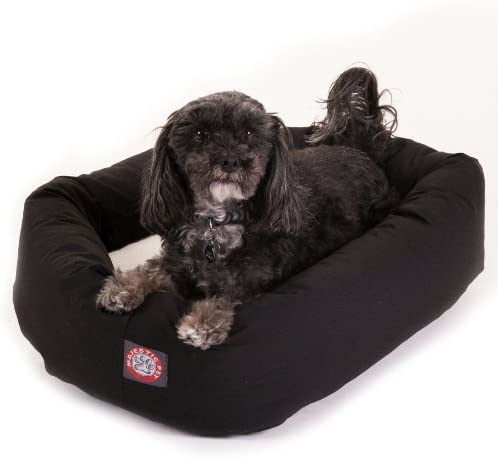 Small 24 Bagel Donut Dog Cat Pet Bed – Black Sherpa