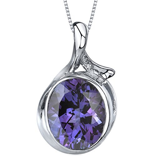 Colorful 6.75 Cts Oval Sterling Silver Rhodium Nickel Finish Simulated Alexandrite Pendant