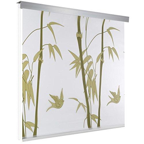 Homelux Duschrollo Duschvorhang Bad Deckenbefestigung Halbkassette 100 x 200 cm Bambus