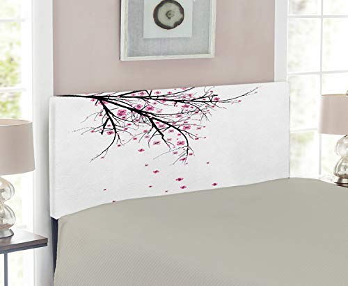 Size Cherry Headboard Twin (Ambesonne Nature Headboard for Twin Size Bed, Cherry Blossoming Falling Petals Flowers Springtime Park Simple Illustration Print, Upholstered Metal Headboard for Bedroom Decor, Pink Black)