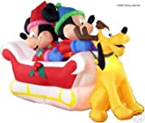 Airblown Inflatable 8 Ft Long Disney Mickey Minnie Pluto Sleigh