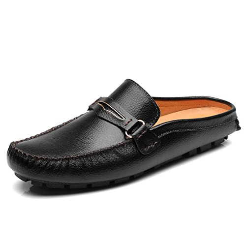 Go Tour Mens Tassels Leather Mule Slip-on Backless Slippers Shoes Black -
