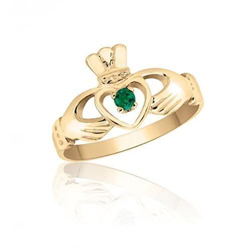 Amazon.com: Emerald Set Claddagh Ring in 10K Yellow Gold
