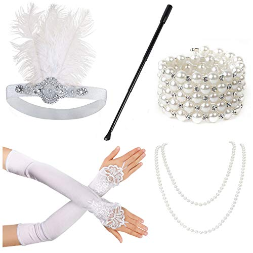 Beelittle 1920s Accessories Set for Women Flapper Headband Pearl Necklace Gloves Cigarette Holder for Great Gatsby Party (M10)]()